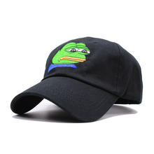 Sad Kermit Cap Frog Pepe Feels Bad Man Embroidery Sun-shade Snapback Hip Hop Baseball Cap The Sad Meme Frog Hat(China)