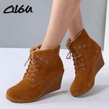 O16U Women Wedge Boots Shoes high Heels Suede Leather Lace up Ladies Snow warm Fur Short Boots Brand Winter Rubber Boots female