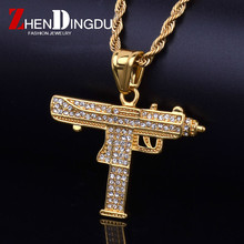 Iced Out Small Uzi Gun Pendant Bling Rhinestone Alloy Gold Silver Submachine Gun Men's Hip hop Pendant Necklace Drop Shipping(China)