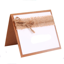 20pcs/Lot Natural jute and paper Card Holder Seat Folder  Wedding Place Card Table Number Holder