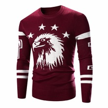 Sweater Pullover Men 2016 Male Brand Casual Sweaters Men Eagle Embroidered Design Thick O-Neck Men's Knitted Star Sweater