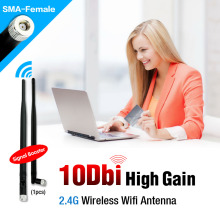 2.4G 10 dBi Wireless WIFI Antenna Booster WLAN RP-SMA For Router USB Modem