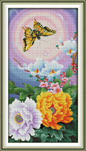 Joy sunday floral style The butterfly and flowers printable cross stitch patterns canvas beautiful painting for home ornament