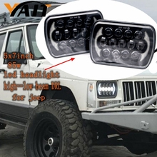 "2 pcs 5x7"" Auto DRL Led headlamp 5x7 Inch led truck headlight 6x7"" high low beam Square led headlight For Jeep Cherokee XJ(China)"