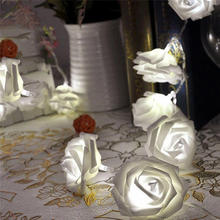 1m 10 LED Romantic Rose Shaped Floral Fairy String Lights Chains Valentine's Day Party Christmas Garlands New Year Wedding Decor(China)