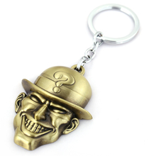 J Store The Riddler Mask Keychain 2 Colors Batman Riddler Skull Logo Key Ring Hoder For Fans Movie Car Accessories