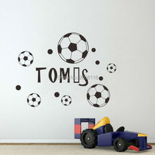 Custom-made Name Wall Sticker Football Soccer Wall Decal for Boys Men Room Decoration(China)