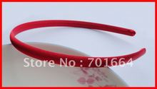 10PCS 10mm hot Red Satin Fabric Covered plain Plastic Hair Headbands hairbands for Handmade hair jewelry