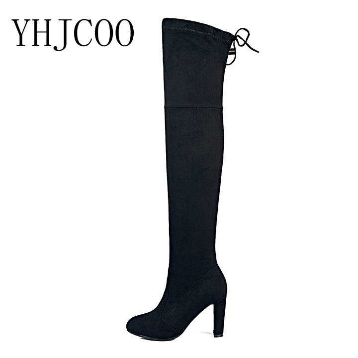 fashion women sexy Over the Knee boots shoes high quality Faux Suede Slim Thigh High Boots High Heels boots autumn plus size 43<br>