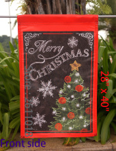 "Merry Christmas Tree - Merry Christmas  -  Inch Decorative Flag""12.5 x 18"" ""28 x 40"" Inches"