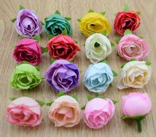 30pcs 14 Color 3 cm Mini Diy Artificial Bud Silk Flowers Heads For Home Wedding Decoration Scrapbooking Flower Tea Rose Head