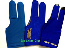 Free shipping 3pcs/lot high Elasticity 3 finger blue Billiards gloves/Snooker billiard table Gloves Billiards Accessories
