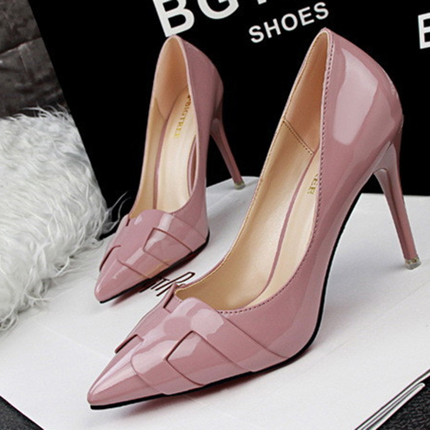 Free Shipping Fashion Show Thin Women Shoes With A Fine Pointed High-Heeled Shoes Asakuchi Solid Paint Women Pumps Shoes 48<br><br>Aliexpress