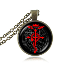 Fullmetal Alchemist Edward's Symbol necklace art painting glass dome pendants red snake cross necklaces angel wings  jewelry