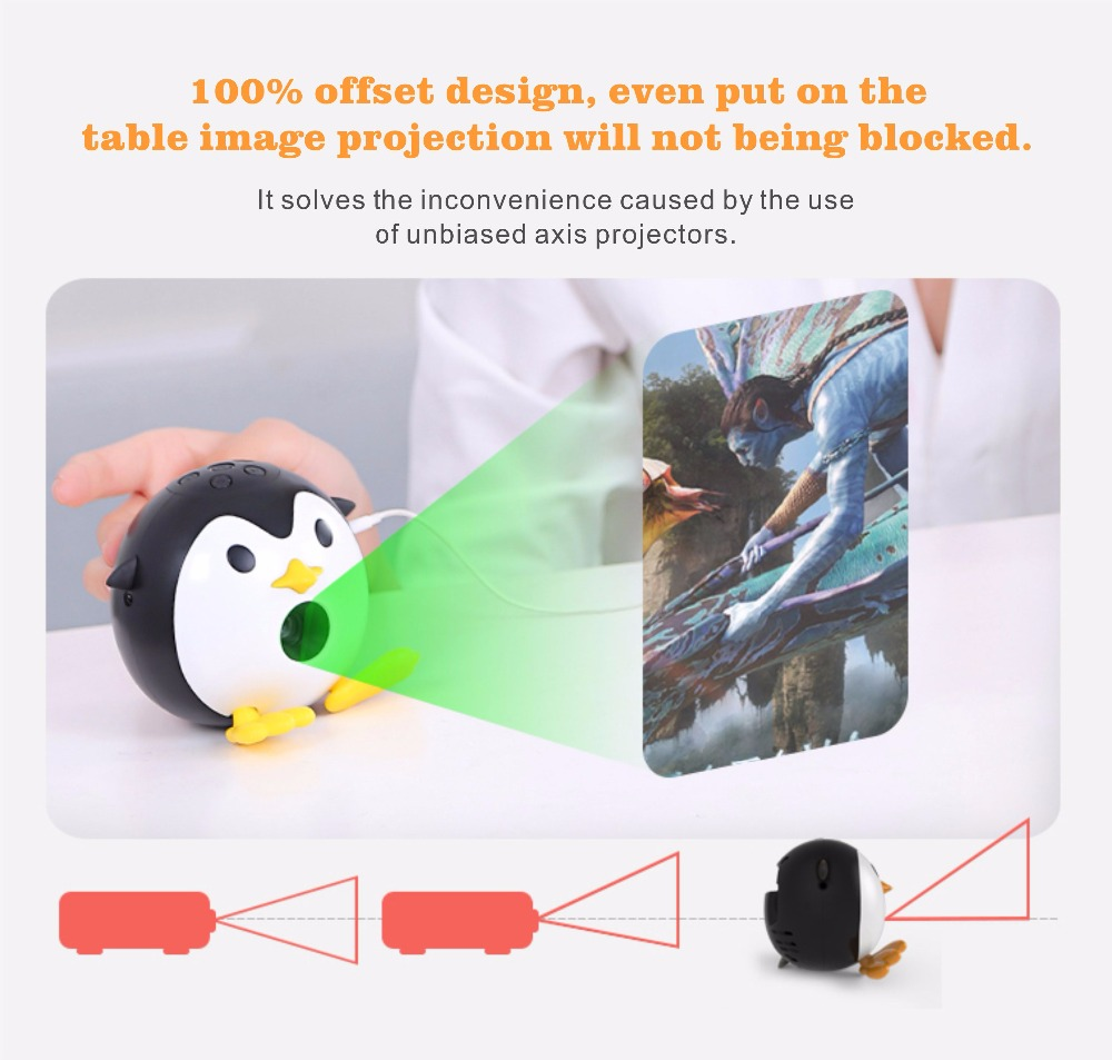 400Lumen Cute Penguin WIFI Micro DLP Mobile LED Projector Support 1080P TF USB HDMI AV & IOS Android Input with Battery Built-in_19