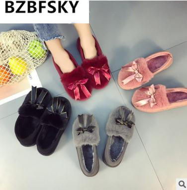 BZBFSNew Winter Warm Home Women Slippers Cotton Shoes Plush Female Floor Shoes Bow-knot Fleece Indoor Shoes Woman Home Slippe