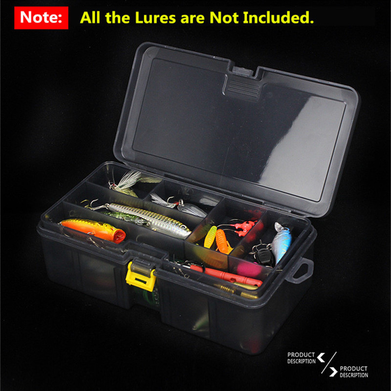 Double Layers Thickened Size Plastic Lure Fishing Box for Fishing Bait Tools Accessories Fishing Tackle Storage Box 21x12x6.5cm (10)