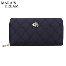 Mara's Dream Women Wallet Clutch Bag Vintage Crown Embellishment Plaid Wallets Female ID Card Holder Purse Phone Case Money Bag(China)