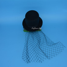 Black  Mini Top Hat Netting Hair Clip for Women Girls Punk Party Decoration Hair Accessories