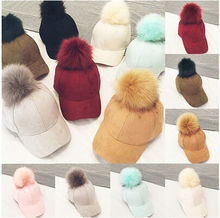 Baseball Caps New Women Faux Fox Fur Pompom Ball Suede Adjustable Baseball Cap Hip-Hop Hat UK(China)