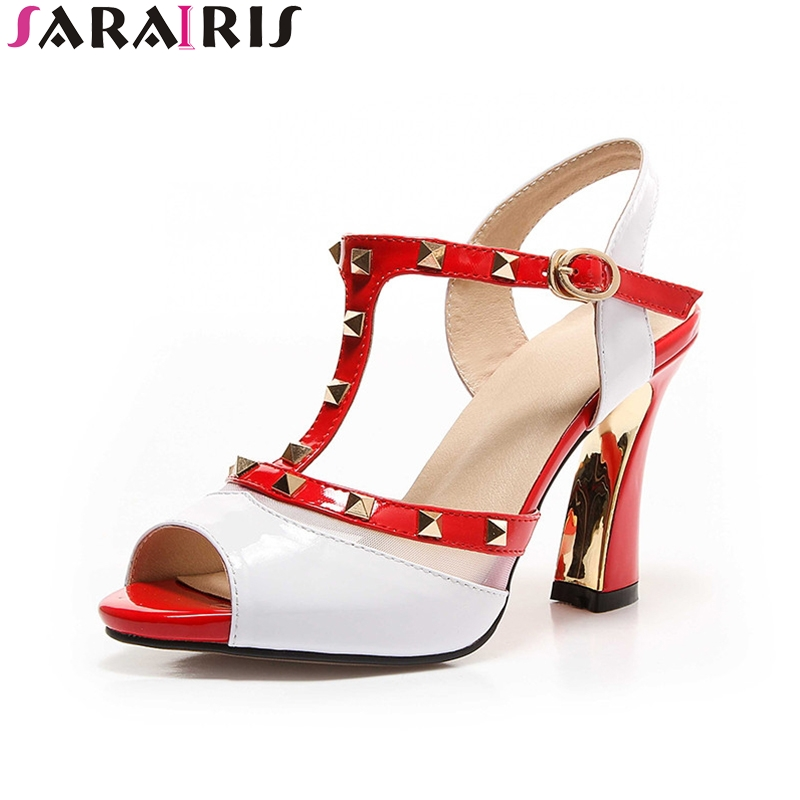 SARAIRIS 2018 Summer brand genuine leather rivet sandals peep toe high heels shoes woman size 34-39<br>