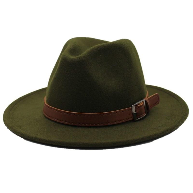 Special Felt Hat Men Fedora Hats with Belt Women Vintage Caps Wool Fedora Warm Jazz Hat Chapeau Femme Feutre