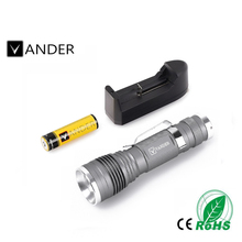 VANDER 3W Adjustable LED Flashlight Mini Aluminum Torch light Zoom in and Zoom out led torch flashlight With 18650 rechargeable