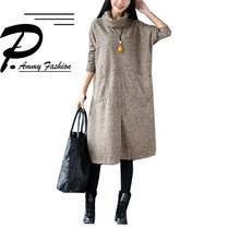 2017 Fashion Plus Size BawtingSleeve Turtleneck Jumper Wool Dress Women's Winter Loose Big pocket Tunic Baggy pullover(China)