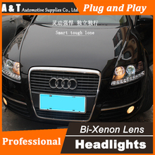 Car Styling for Audi A6 C5 Headlights 2005-2012 A6 LED Headlight DRL Lens Double Beam H7 HID Xenon bi xenon lens(China)