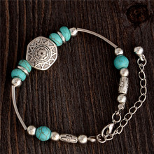 SHUANGR Charm Bracelet Antique Silver-Color Charm Chain Bracelet & Bangle Fashion Wristband Cuff Bead Bracelet for Women Girl