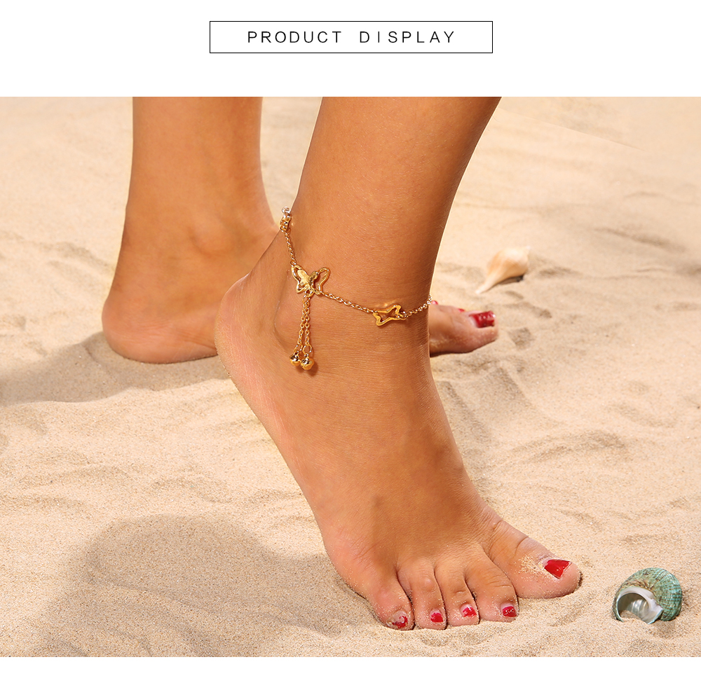Detail Feedback Questions about Bells Butterfly Pendant Anklets Foot ... bb0017be960c