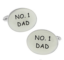 Men Gift No.1 Dad Cufflinks Wholesale&retail Black Color Copper Material Novelty Father Day Gift Design(China)