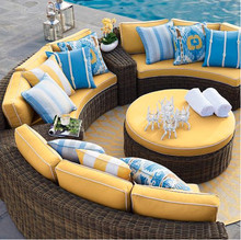 2017 popular wicker outdoor furniture half round sofa set curved modular seating