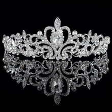Silver plated rhinestone bridal crown 1pclot African diamante crystal tiara fashion wedding party prom jewelry for women