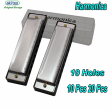 akitoo 406 Blues 10 Holes C Key Harmonica Kids BA Cover Stainless Steel Harmonica Children Musical Instrument Toy for Beginner(China)