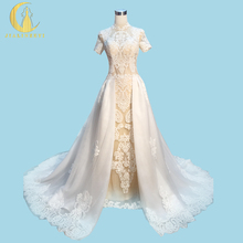 Real Sample Rhine Sexy High Neck Short Sleeves Lace Nude Inside separate Train Zuhair Murad Wedding Gown wedding dresses 2017
