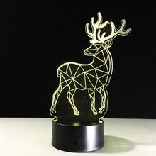 Animal Deer 3D LED LAMP TABLE - DESK Or NIGHT LIGHT 3D LAMP(China)