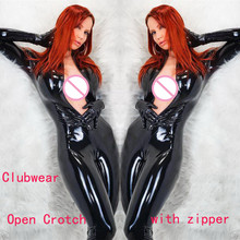 Buy Plus Size S-5XL Black Patent Leather Bodysuit Gloves Sexy Woman Latex Catsuit Fetish Gothic PVC Bodysuit Open Crotch Zipper