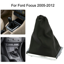 Car Shift Knob Cover for Ford Focus 2 MK2 2005 2006 2007 2008 2009 2010 2011 New Black Real Leather Gear Gaiter and Chrome Base
