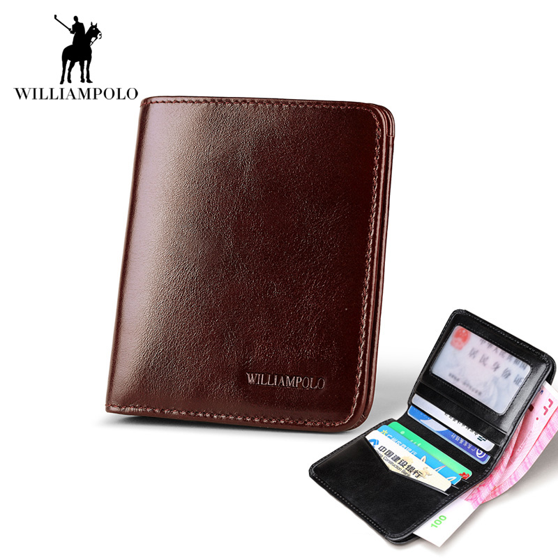 100% Genuine Cowhide Leather Men Wallets 2017 Vintage High Quality Brand Designer Male Thin Short Card Holder Small Casual Purse<br>