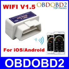 ELM327 Interface WIFI Connection  V1.5 ELM 327 Wireless Supports All OBDII Protocols WIFI iOS/Android System Free Shipping