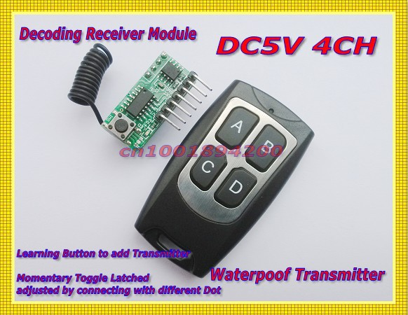 DC5V Receiver module Transmitter wireless remote control Module system Toggle/Momentary/Latched Adjusted  Learning code 315/433<br><br>Aliexpress