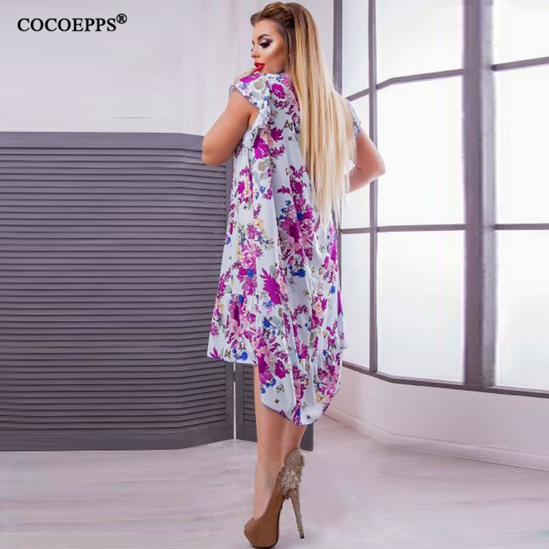 2018 L-6XL Summer Plus Size Women Dress Flower Print Large Size Fashion Dresses Casual Women Clothing Big Sizes Dress Vestidos 43