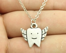 WYSIWYG simple vintage 2 colors antique silver, antique bronze color Tooth Fairy pendant necklace