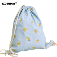 EXCELSIOR 2017 Summer Fresh Women's Drawstring Backpack Cotton Linen Cartoon Fruit Printed Sackpack Beach Bag Travel Street Bag