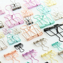 Cute Metal Binder Clips Clips Small Craft Photo Pegs office bookmarks Kawaii Stationery 8 Color Size S M L(China)