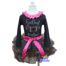 Girl Outfits Brown Leopard Petal Tutu Plus Rhinestone Football Sister Black Long Sleeves Pettitop Top 1-7Y