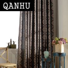 QANHU Factory Outlet Collection Blackout Curtains for Bedroom Polyester/Cotton Comfortable Curtains Set for the Living Room A-8