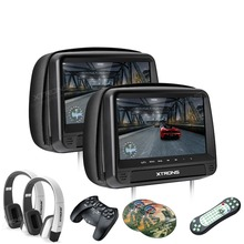"Newest XTRONS Monitors 2x9"" HD Digital Panel Leather Cover Car Headrest DVD Players with Zipper Design with two headphones"