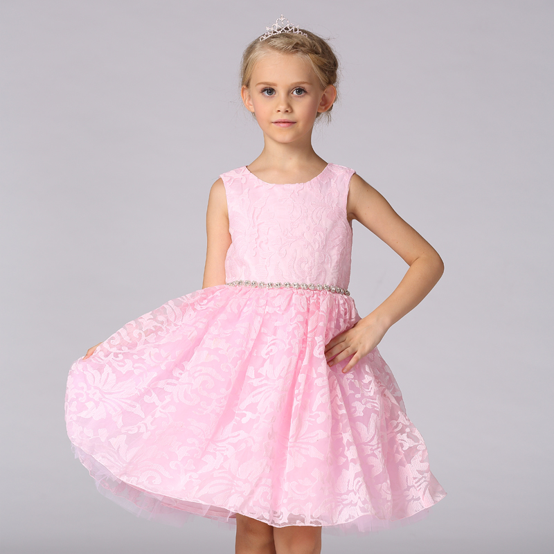 Princess Flower Dress Girls Wedding Party High Quality Bridesmaid Kids Bow Sleeveless Trailing Lace Tulle 3 Colors Tutu Dresses<br><br>Aliexpress